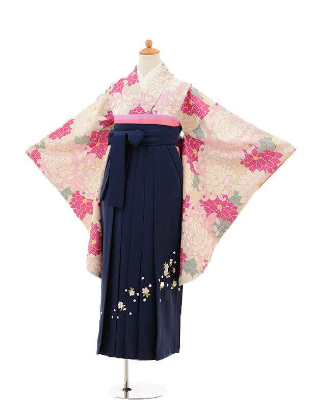 小学生卒業式袴女児9228 ベージュピンク菊×紺袴