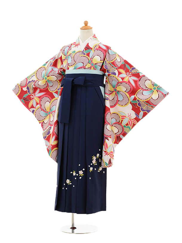 小学生卒業式袴女児9232 赤地捩り梅×紺袴