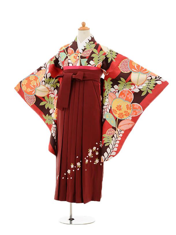 小学生卒業式袴女児9234 赤地橘×エンジ袴