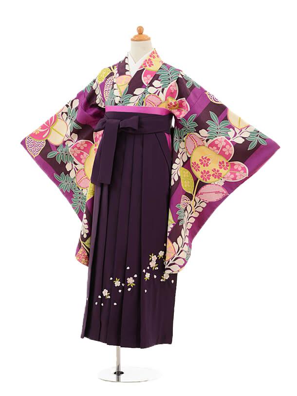 小学生卒業式袴女児9238 紫地橘×パープル袴