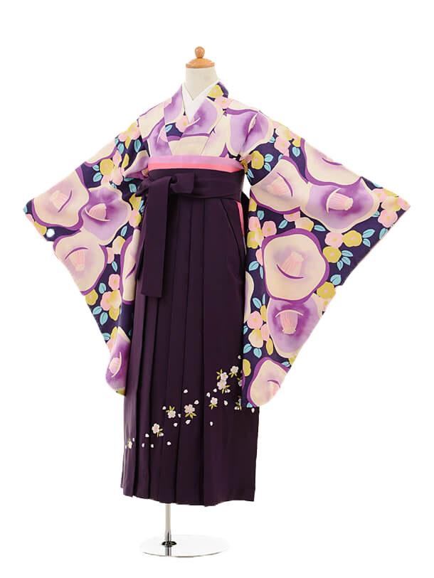 小学生卒業式袴女児9239 紫地椿×パープル袴