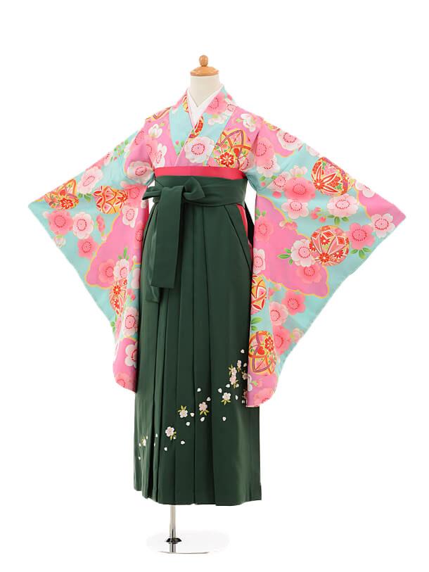 小学生卒業式袴女児9242 水色地まり×グリーン袴