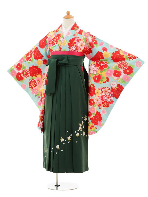小学生卒業式袴女児9245 水色雪輪に花×グリーン