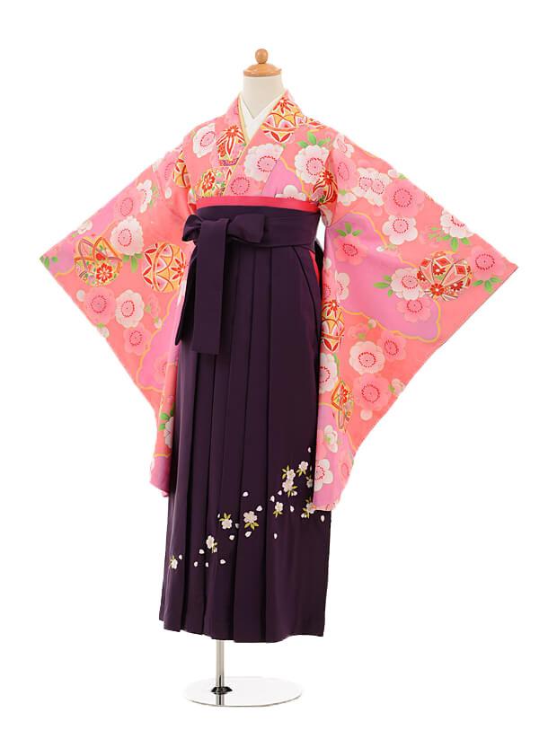 小学生卒業式袴女児9246 ピンク地まり×パープル
