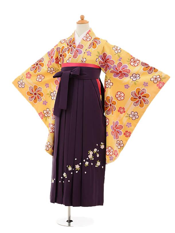 小学生卒業式袴女児9247 黄色矢絣梅×パープル袴