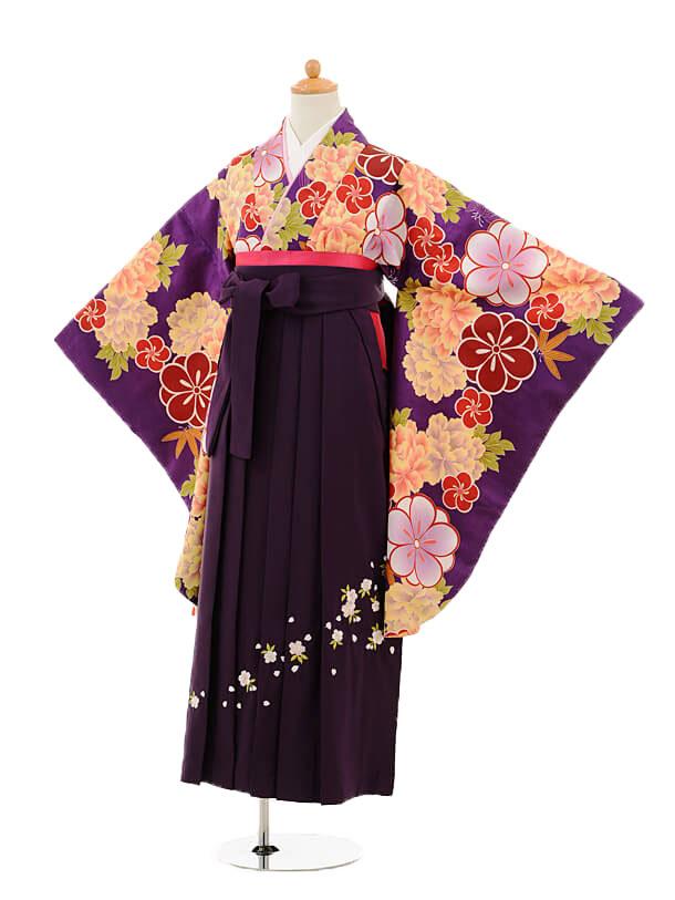 小学生卒業式袴女児9248 紫地ぼたん×パープル袴