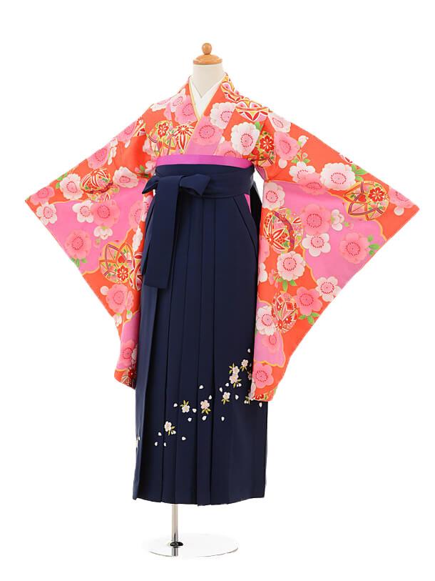 小学生卒業式袴女児9249 オレンジ色まり×紺袴