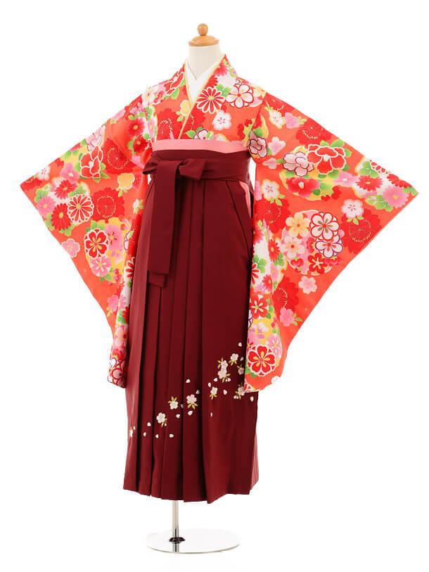 小学生卒業式袴女児9255 オレンジ色雪輪×エンジ袴