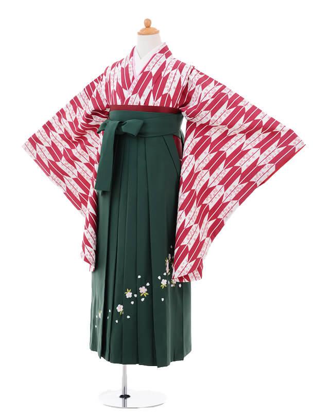 小学生卒業式袴女児9256 あずき色矢絣×グリーン袴