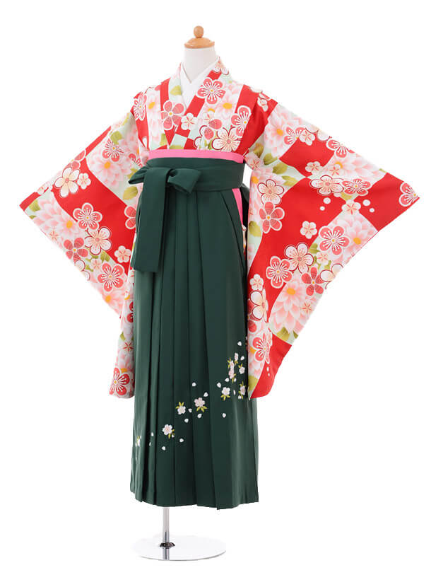 小学生卒業式袴女児9257 赤白梅×グリーン袴