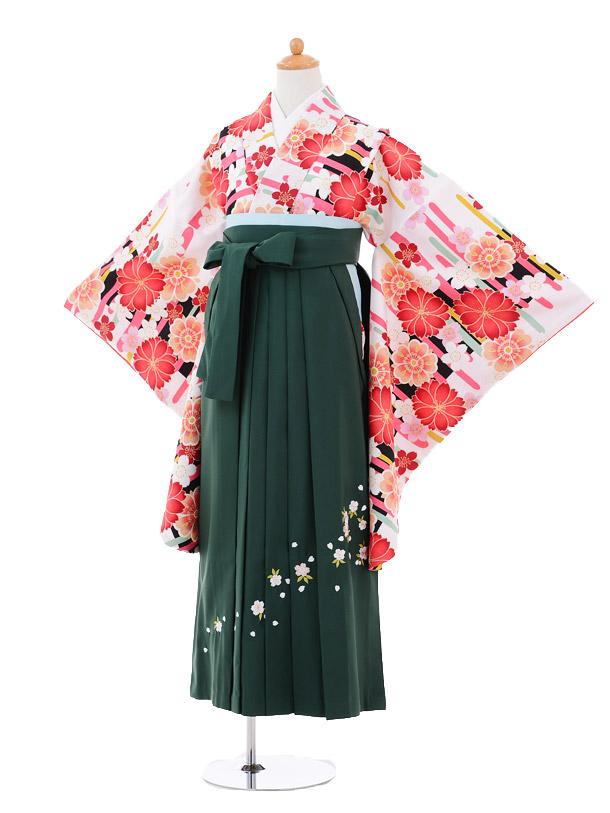 小学生卒業式袴女児9258 白地赤花×グリーン袴
