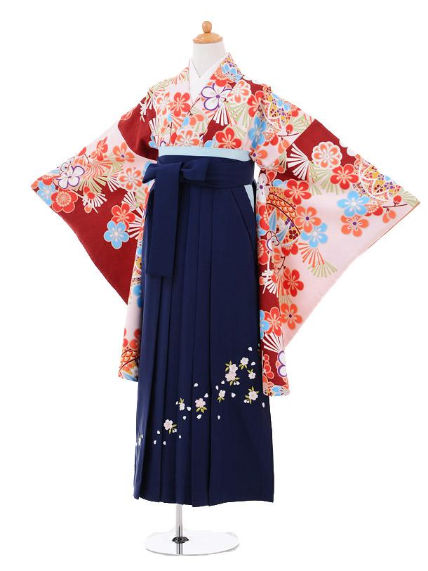 小学生卒業式袴女児9263 薄ピンク小豆色に梅