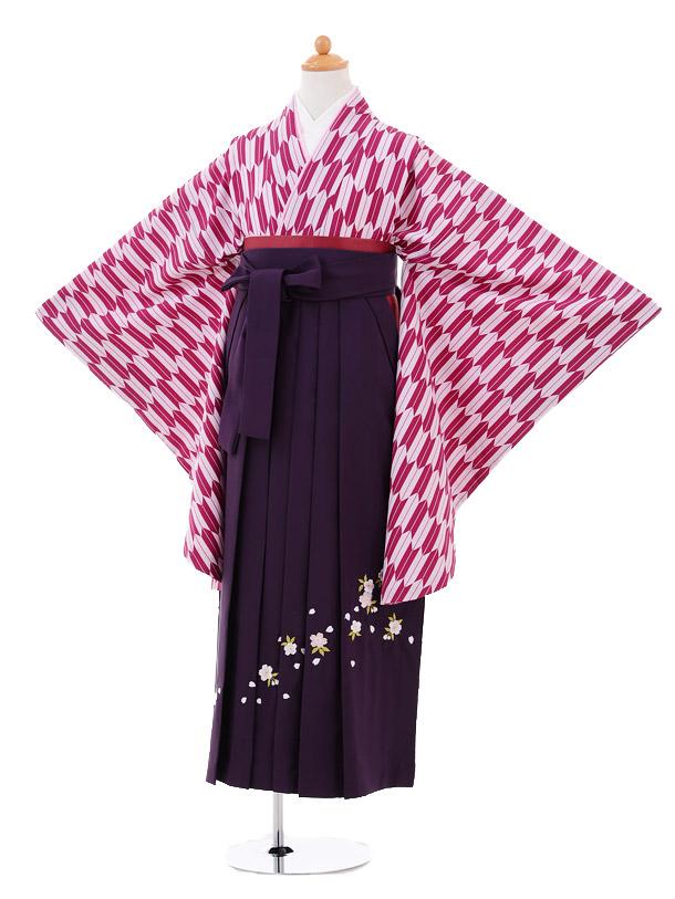小学生卒業式袴女児9268 赤紫矢絣×パープル袴