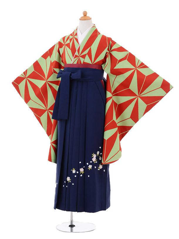 小学生卒業式袴女児9274 緑赤麻の葉×紺袴