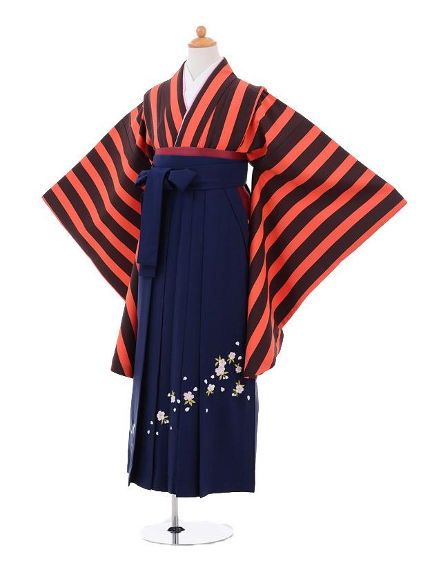 小学生卒業式袴女児9275 オレンジ茶縞×紺袴