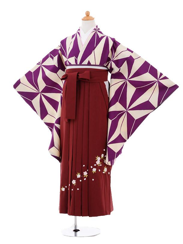 小学生卒業式袴女児9281 紫クリーム矢絣×エンジ袴
