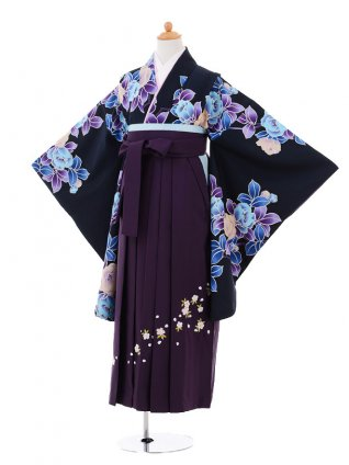 小学生 卒業式 袴レンタル(女の子)9284 黒地水色花