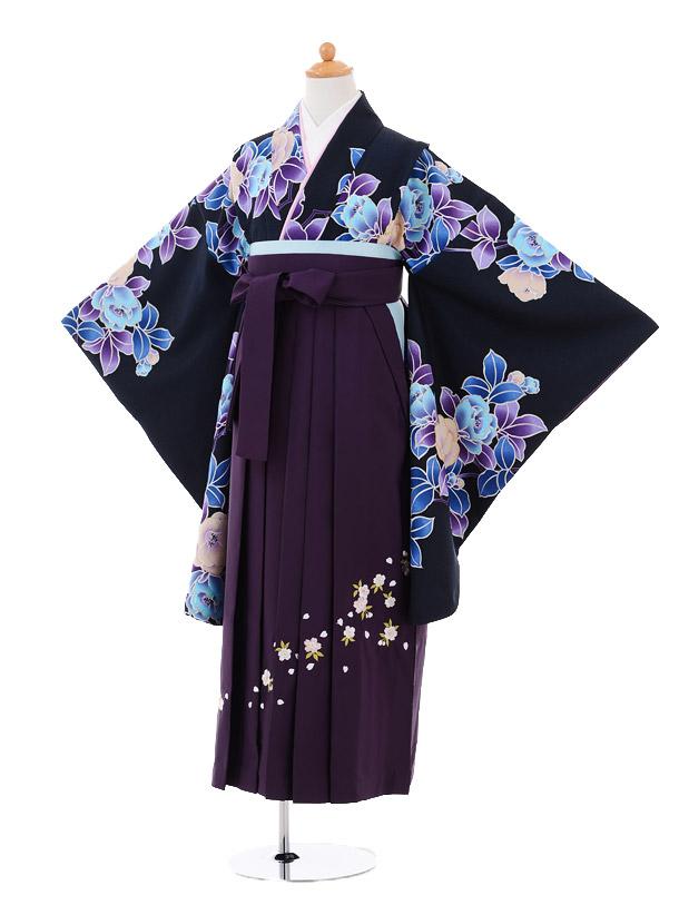 小学生卒業式袴女児9284 黒地水色花×パープル袴