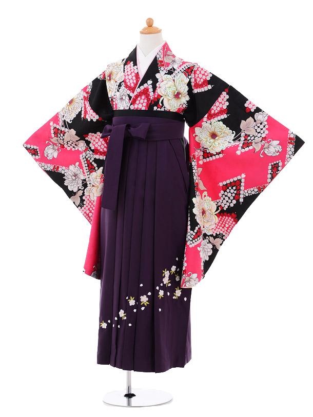 小学生卒業式袴女児9285 黒ピンク洋花×パープル袴