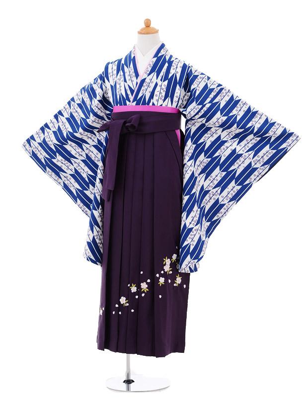 小学生卒業式袴女児9288 紺矢絣桜×パープル袴