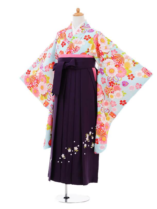 小学生卒業式袴女児9349 水色桜まり×紫袴