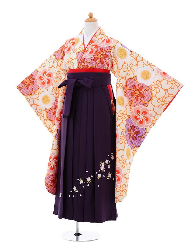 小学生卒業式袴女児9351 クリーム梅×紫袴