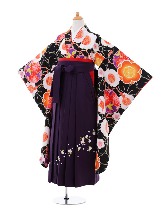 小学生卒業式袴女児9353 黒地梅×紫袴