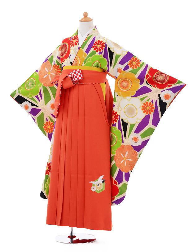小学生卒業式袴女児9354 Lakokura紫梅×九重オレンジ袴