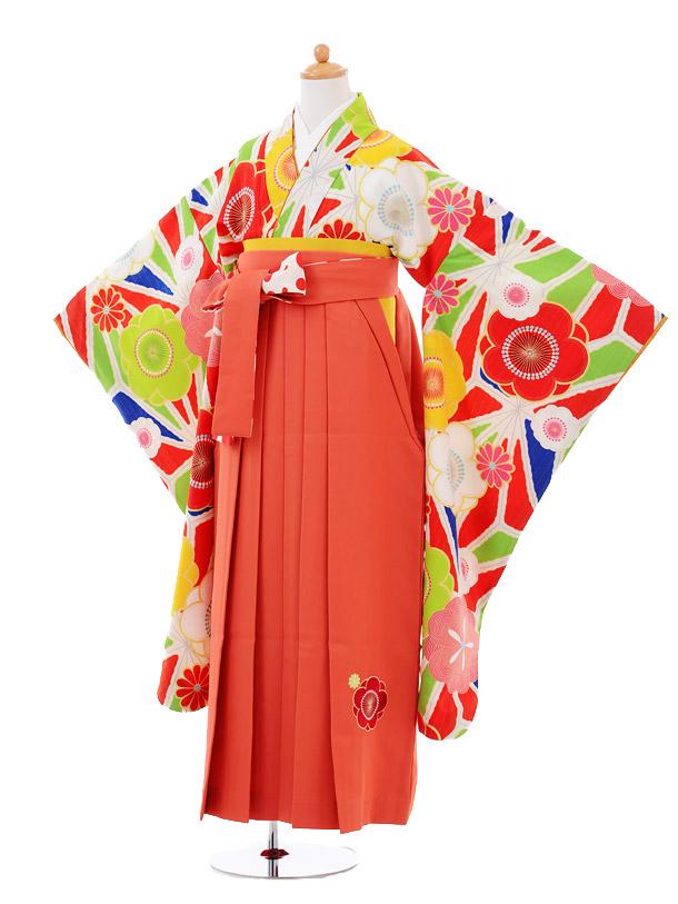 小学生卒業式袴女児9356 Lakokura赤梅×オレンジ袴