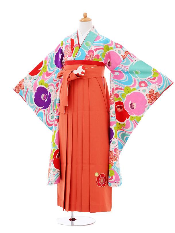 小学生卒業式袴女児9357 Lakokura水色椿×オレンジ袴