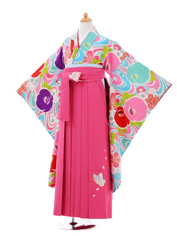 小学生卒業式袴女児9358 Lakokura水色椿×乙葉ピンク袴