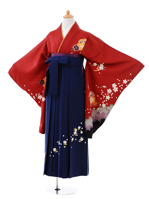小学生卒業式袴女児9380 赤地雪輪うさぎ×紺袴