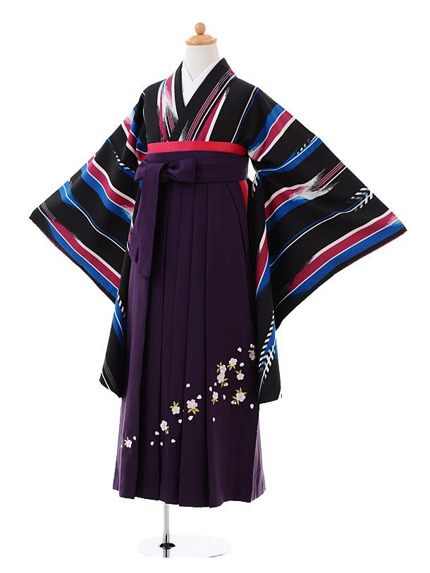 小学生卒業式袴女児9381黒地変わりストライプ×パープル袴