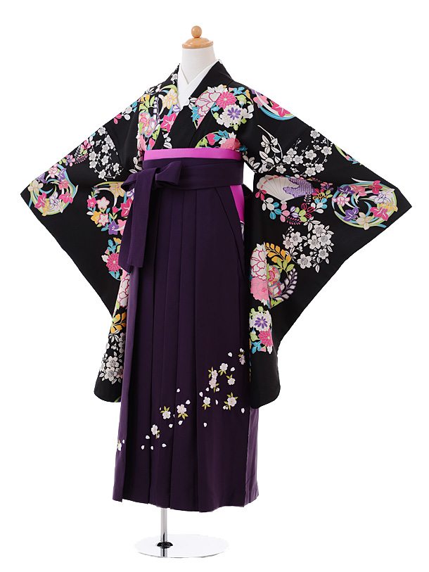 小学生卒業式袴女児9382黒地花丸×パープル袴