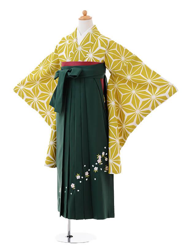 小学生卒業式袴女児9387からし色麻の葉×グリーン袴