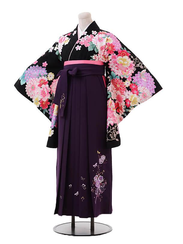 小学生卒業式袴女児9390黒地花に蝶×パープル袴