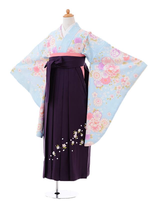 小学生卒業式袴女児9392水色桜花×パープル袴
