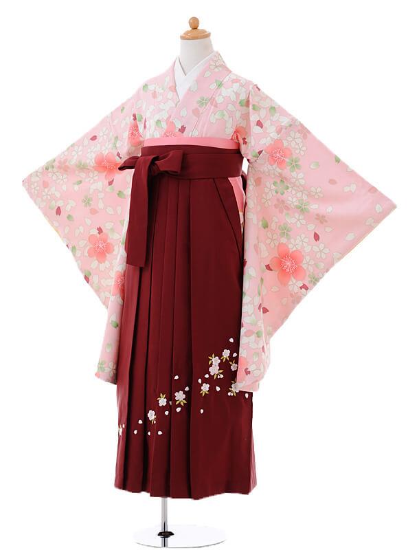 小学生卒業式袴女児9394ピンク地舞桜×エンジ袴