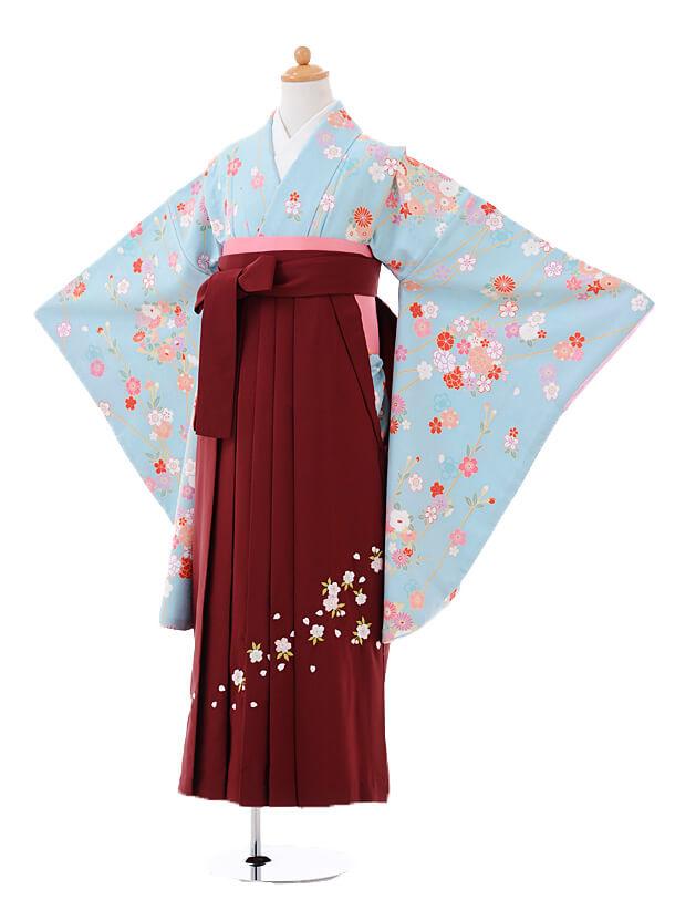 小学生卒業式袴女児9395水色花王×エンジ袴