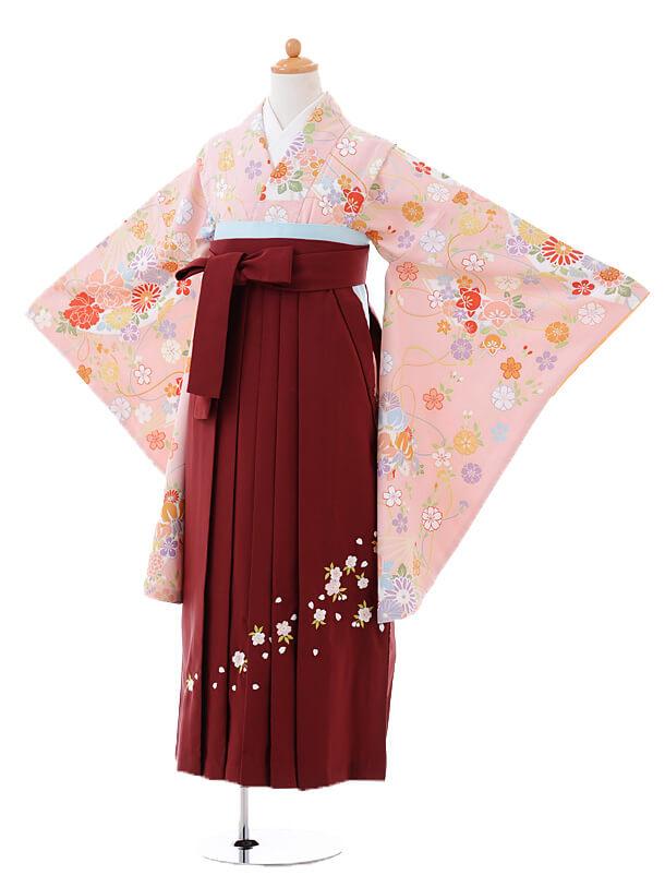小学生卒業式袴女児9396ピンク地扇に花×エンジ袴