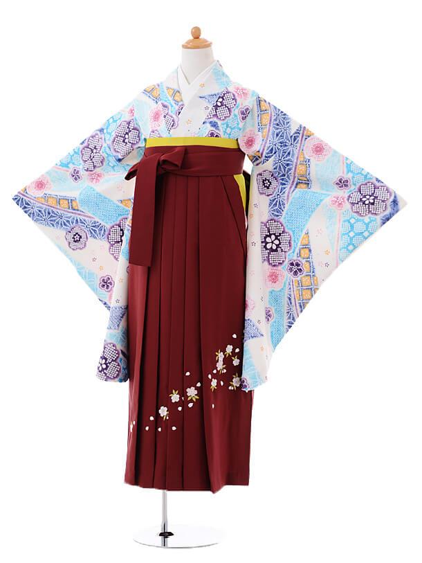 小学生卒業式袴女児9400白地梅のしめ×エンジ袴