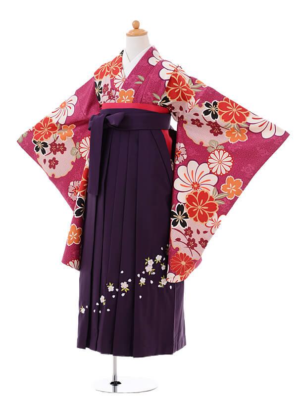 小学生卒業式袴女児9407紫地古典花×パープル袴