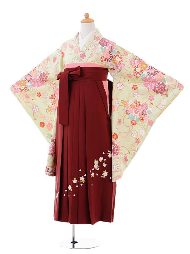小学生卒業式袴女児9408黄緑扇に四季花×エンジ袴