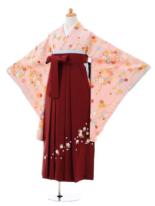 小学生卒業式袴女児9410ピンク地小花×エンジ袴