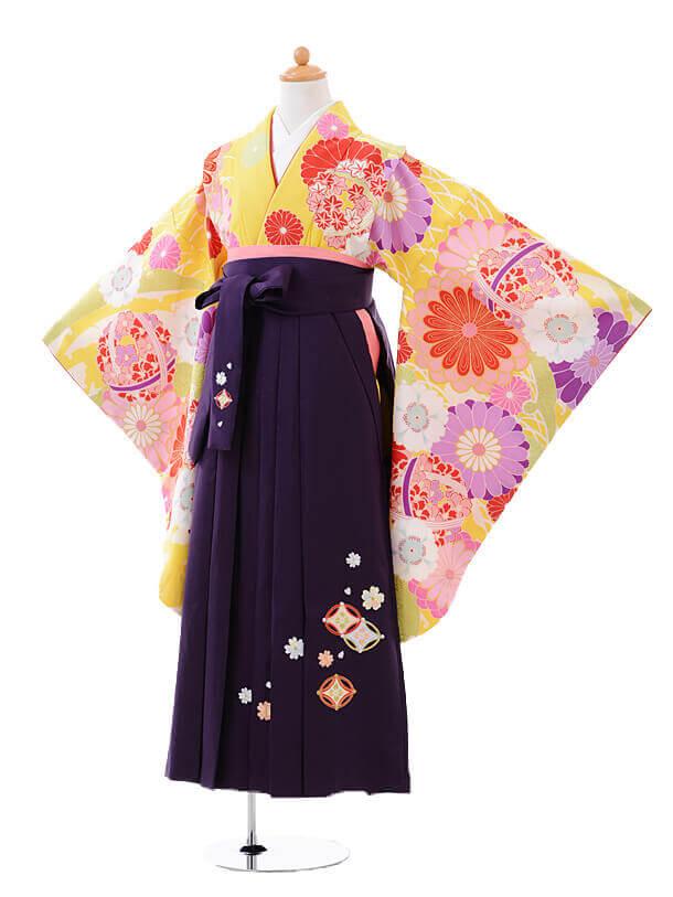 小学生卒業式袴女児9416黄色菊に花くす玉×パープル袴
