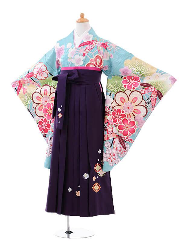 小学生卒業式袴女児9417水色松竹梅×パープル袴