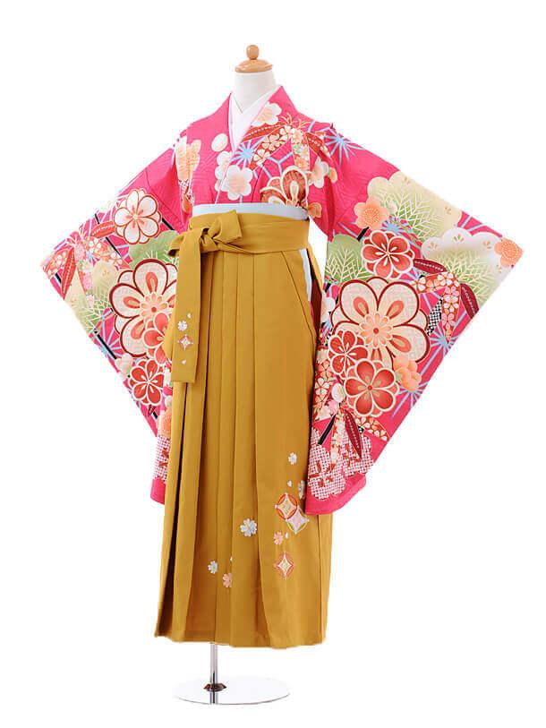 小学生卒業式袴女児9419ピンク色松竹梅×からし袴