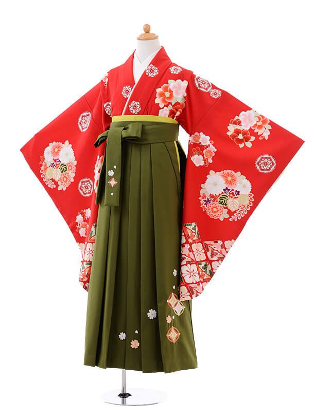小学生卒業式袴女児9421白石麻衣赤花玉×抹茶袴