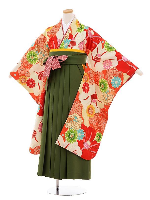 小学生卒業式袴9475瑞城さくら×JAPANSTYLEオレンジに椿グリーン袴