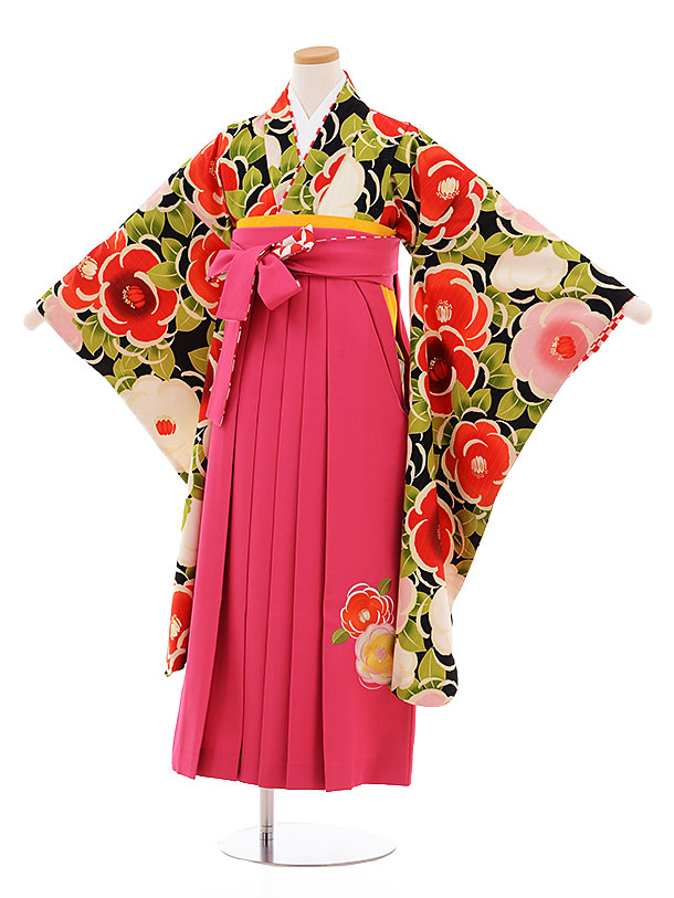 小学生卒業式袴レンタル9477紅一点黒地椿×ピンク袴
